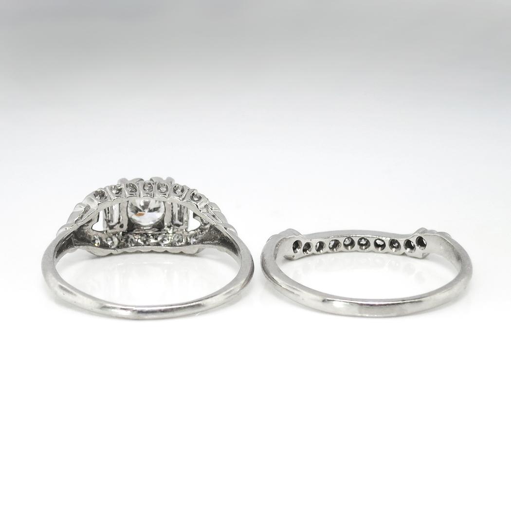 Vintage Art Deco 1930s 81ct Tw Rare Engagement Wedding Ring Band Set Platinum