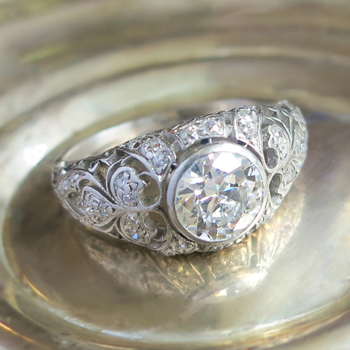 Antique Edwardian Diamond Engagement Ring Platinum