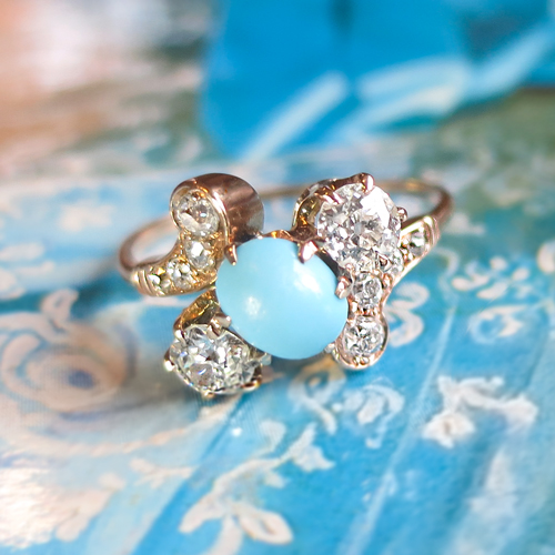 Antique Turquoise and Diamond Ring 18k