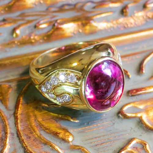 Estate Designer Tourmaline and Diamond Ring 18k