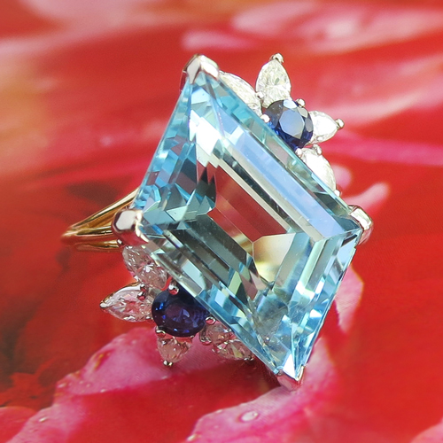 Vintage Aquamarine Diamond and Sapphire Ring