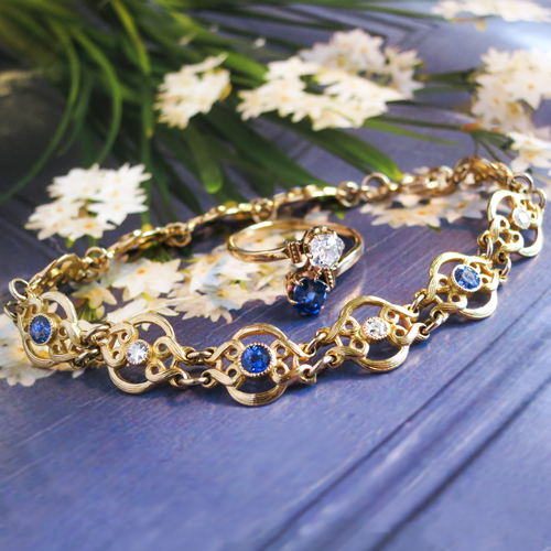 Antique Sapphire and Diamond Bracelet and Ring 18k