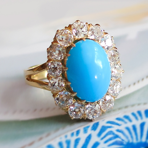 Art Deco Turquoise and Old Mine Cut Diamond Halo Ring