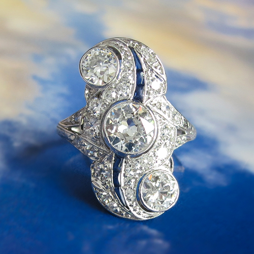 Antique Diamond and Sapphire Swirl Navette Ring Platinum