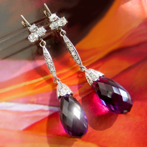 Vintage Amethyst Briolette and Old Mine Cut Diamond Earrings
