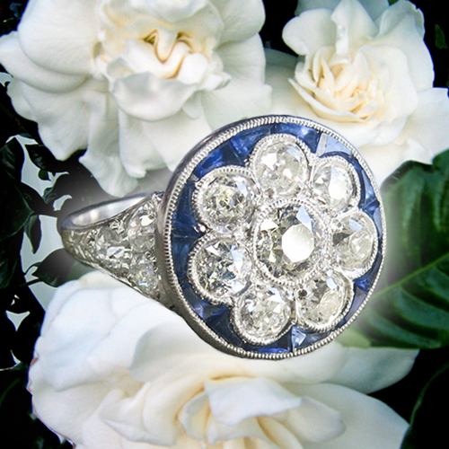 Art Deco Diamond Sapphire Flower Ring