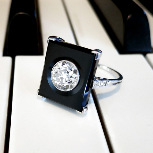 Art Deco Diamond Onyx Ring Platinum