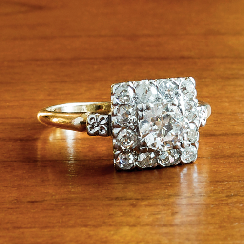 Art Deco Vintage Old European Cut Diamond Engagement Ring 2 Tone