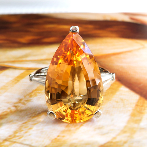 Vintage Pear Cut Golden Topaz and Diamond Ring Platinum