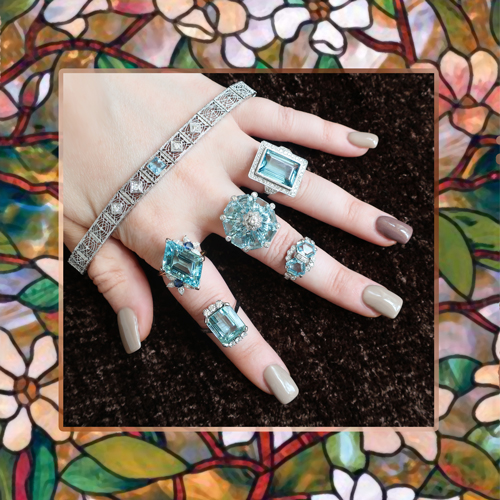 Antique, Vintage & Estate Aquamarine Rings