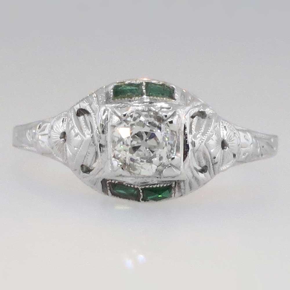 Pretty Edwardian Old European Cut Diamond Amp Emerald