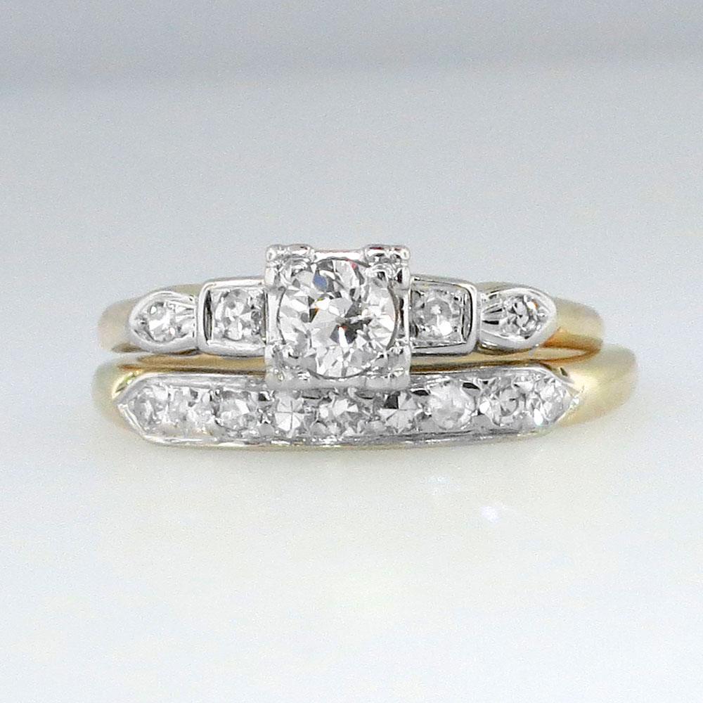 Perfect Art Deco Two Tone Old European Cut Diamond Engagement Ring Set 14k