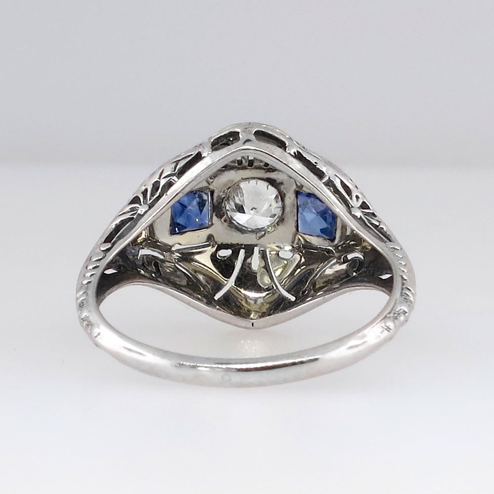 Intricate Authentic Art Deco Old European Cut Diamond & Sapphire Ring 18k