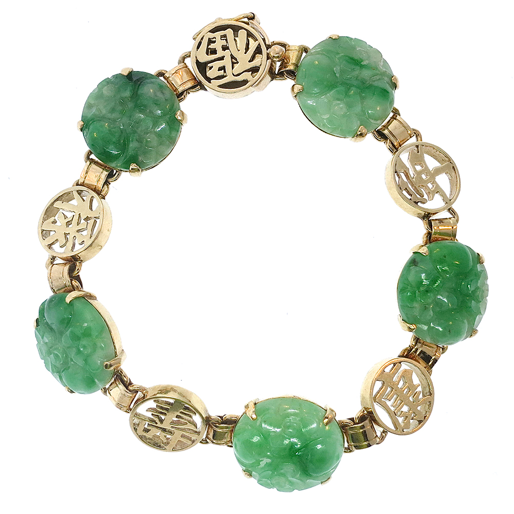 Estate mason kay natural apple green jade bracelet 14k for Pictures of jade jewelry