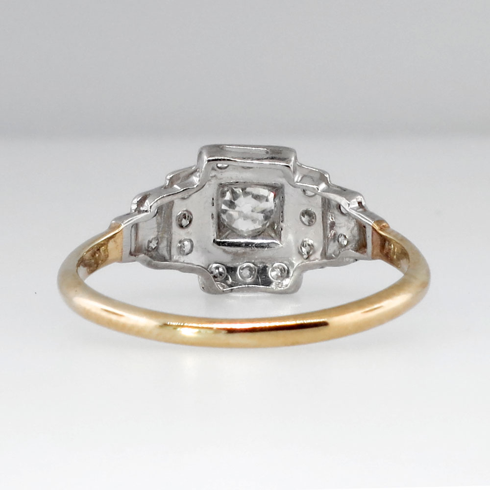 Rare Art Deco Old Mine Cut Diamond Stepping Engagement