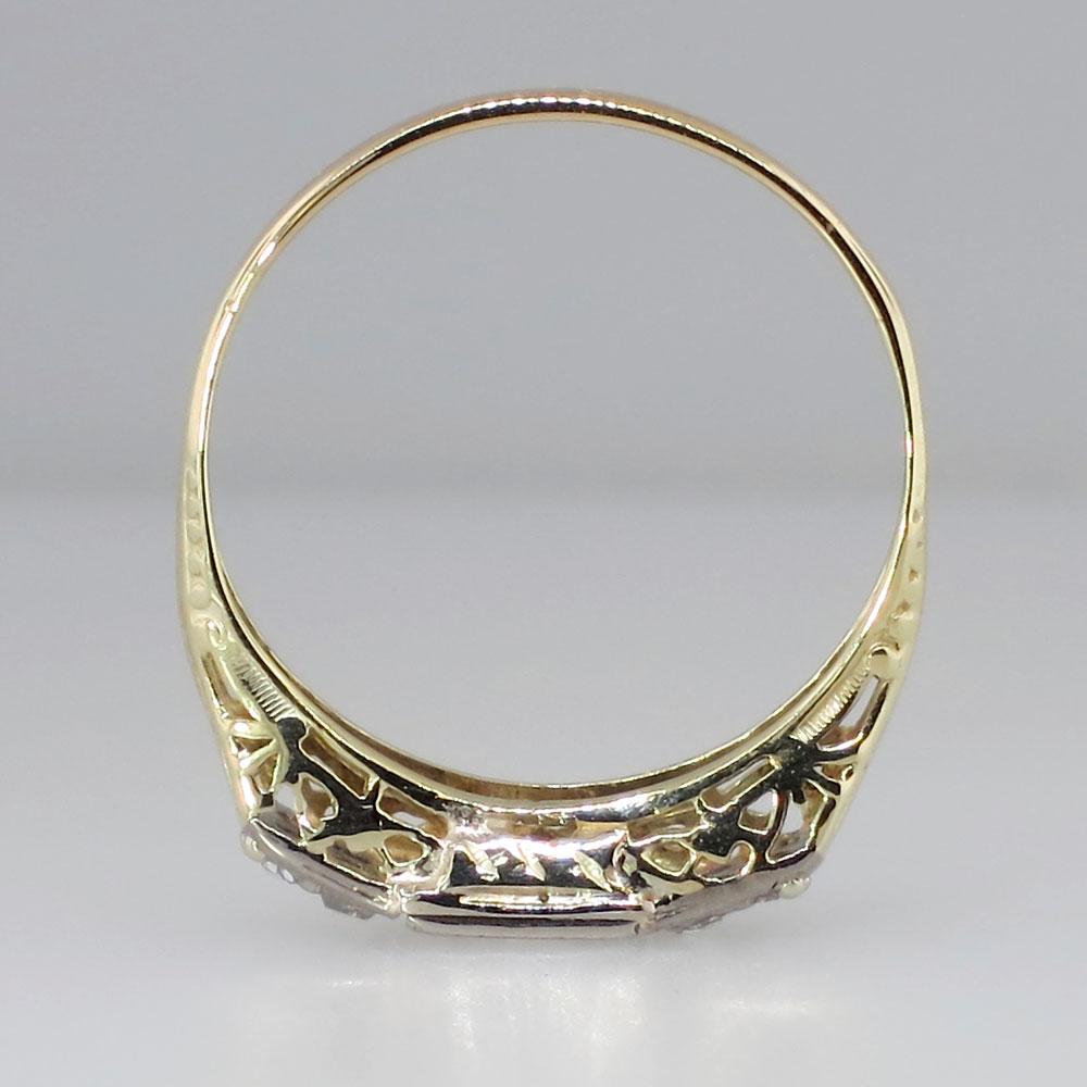 Art Deco Unique Diamond Wedding Ring 14k Two Tone Gold: Fantastic Two Tone Art Deco Diamond Engagement Ring 14k