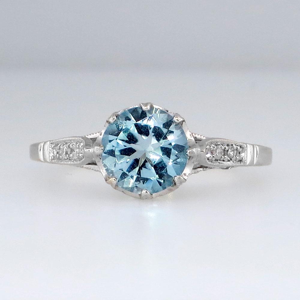 Estate Blue Topaz Amp Diamond Crown Solitaire Ring 18k