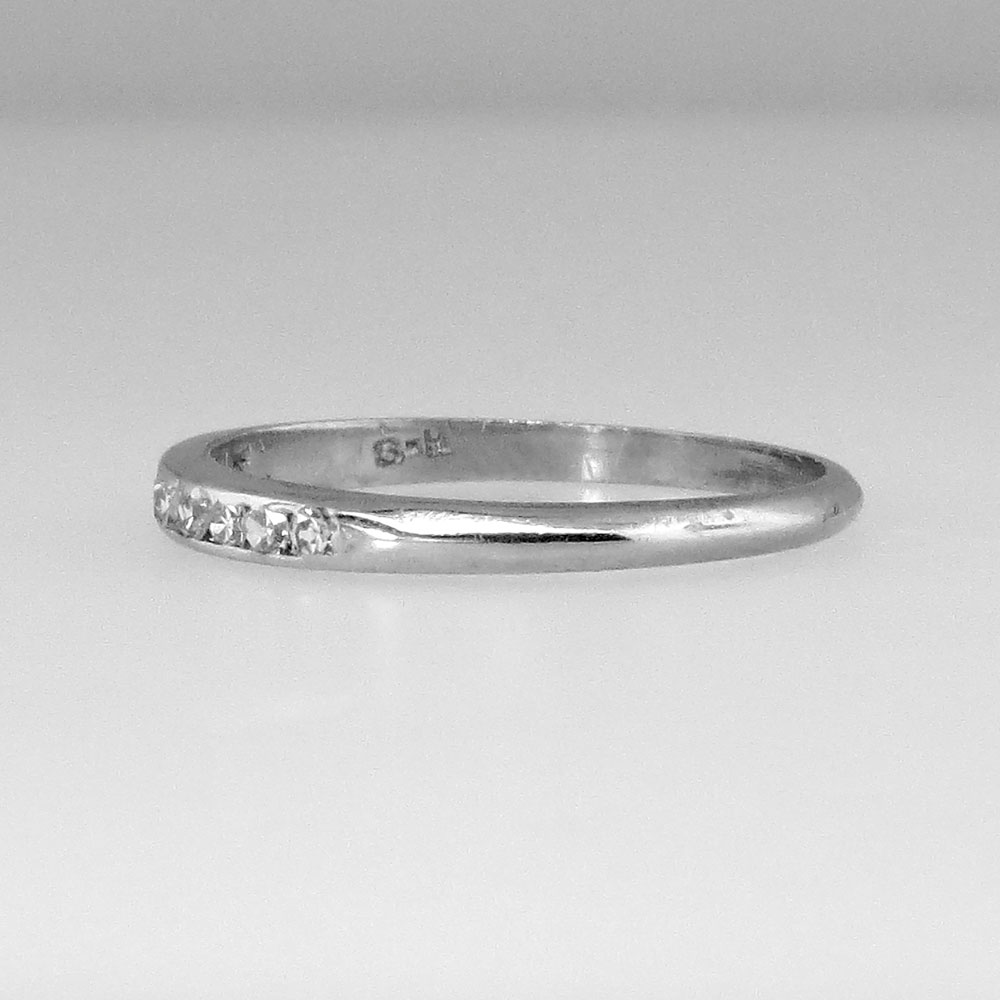 delicate thin 1930 s wedding band platinum