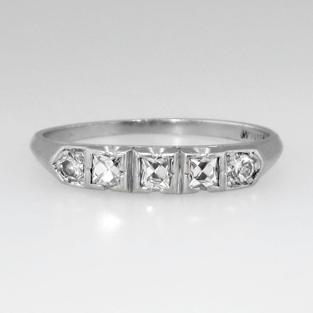 Rare Edwardian French Cut Diamond Wedding Band Platinum