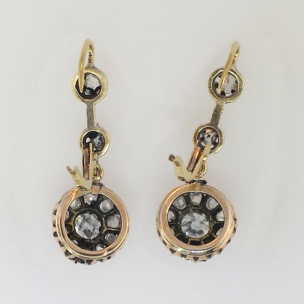 Original Edwardian 1ctw Old Mine Cut Diamond Drop Earrings