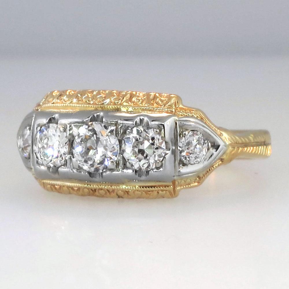 Unique Art Deco Five Stone Filigree 1ctw Diamond