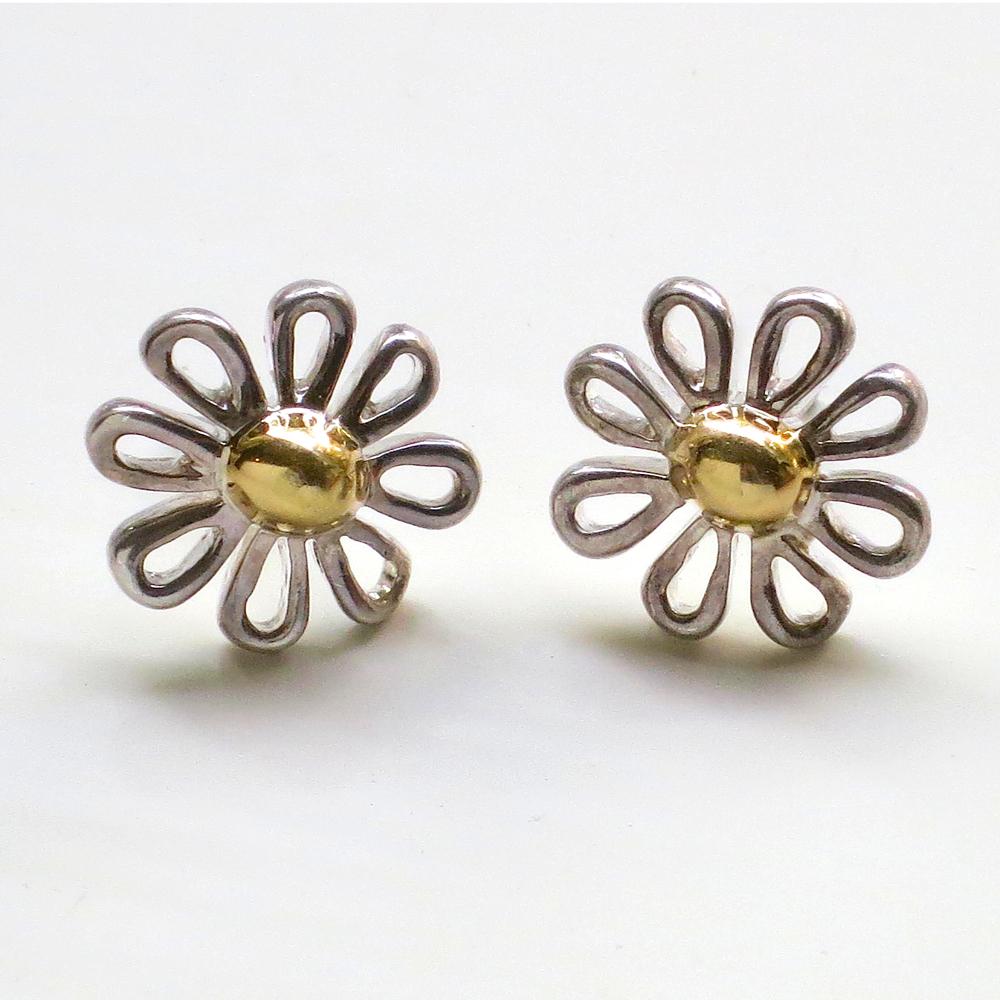 Estate Rare Tiffany Co Daisy 18k Ss Stud Earrings