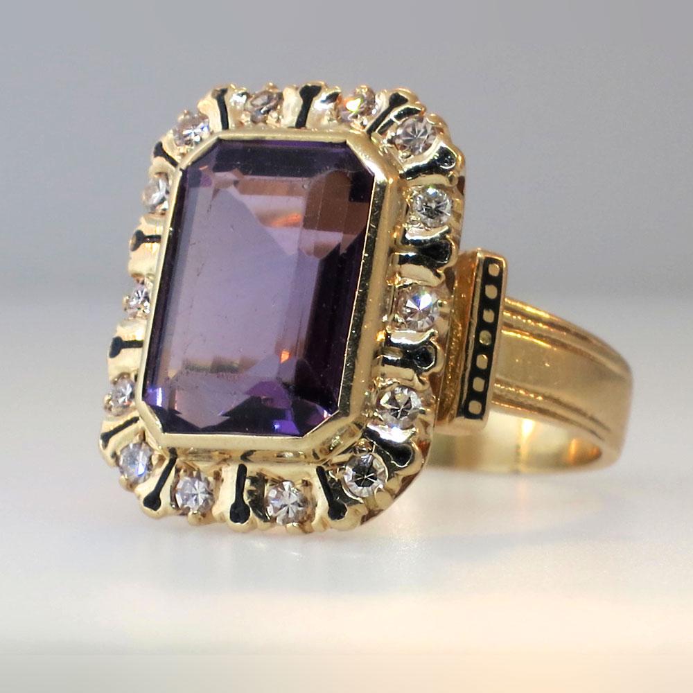 Large Victorian Amethyst Diamond And Enamel Ring