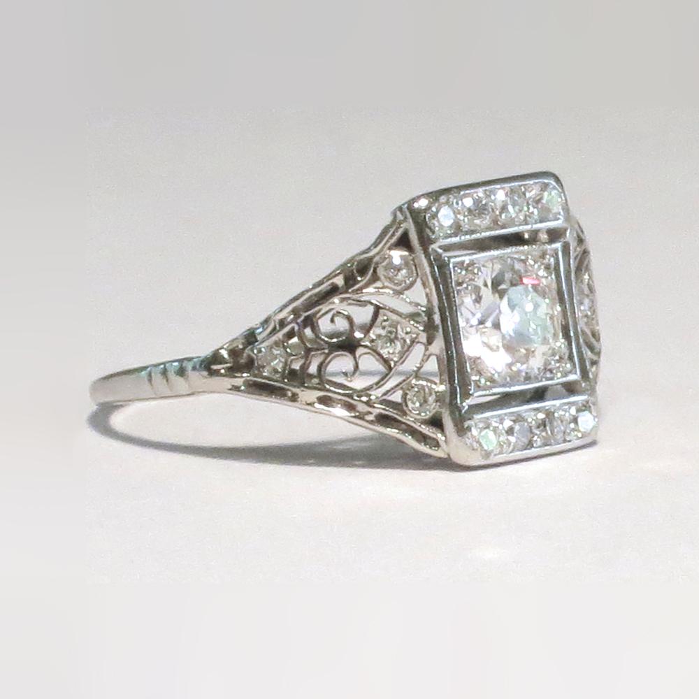 Edwardian Platinum Filigree Diamond Engagement Ring