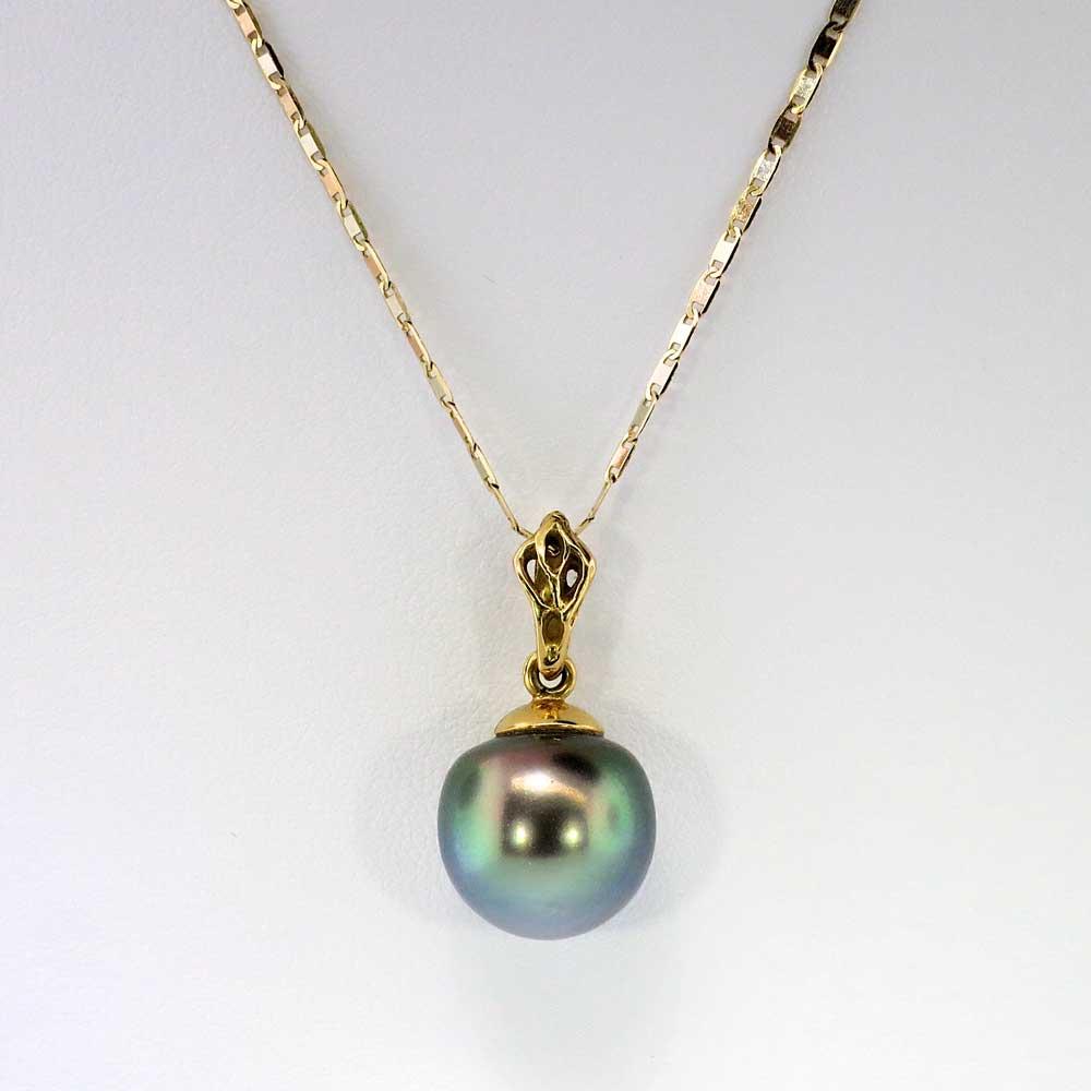 timeless large 13mm tahitian pearl pendant 18k antique