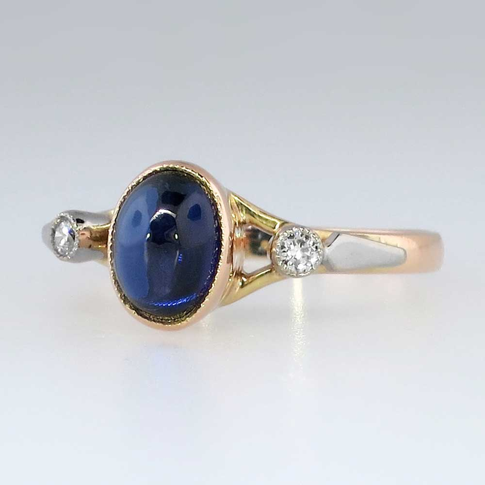 Vintage Russian Cabochon Sapphire Amp Diamond Ring 14k 18k