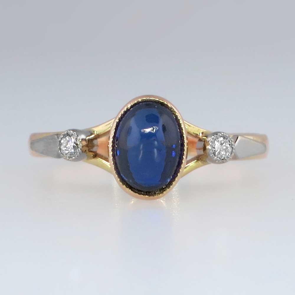 Vintage Russian Cabochon Sapphire Amp Diamond Ring 14k 18k