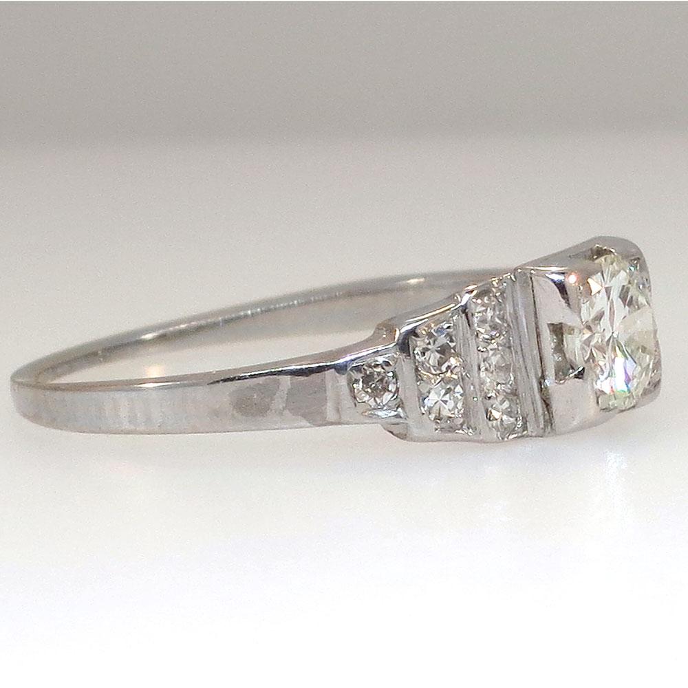 authentic retro engagement ring platinum antique