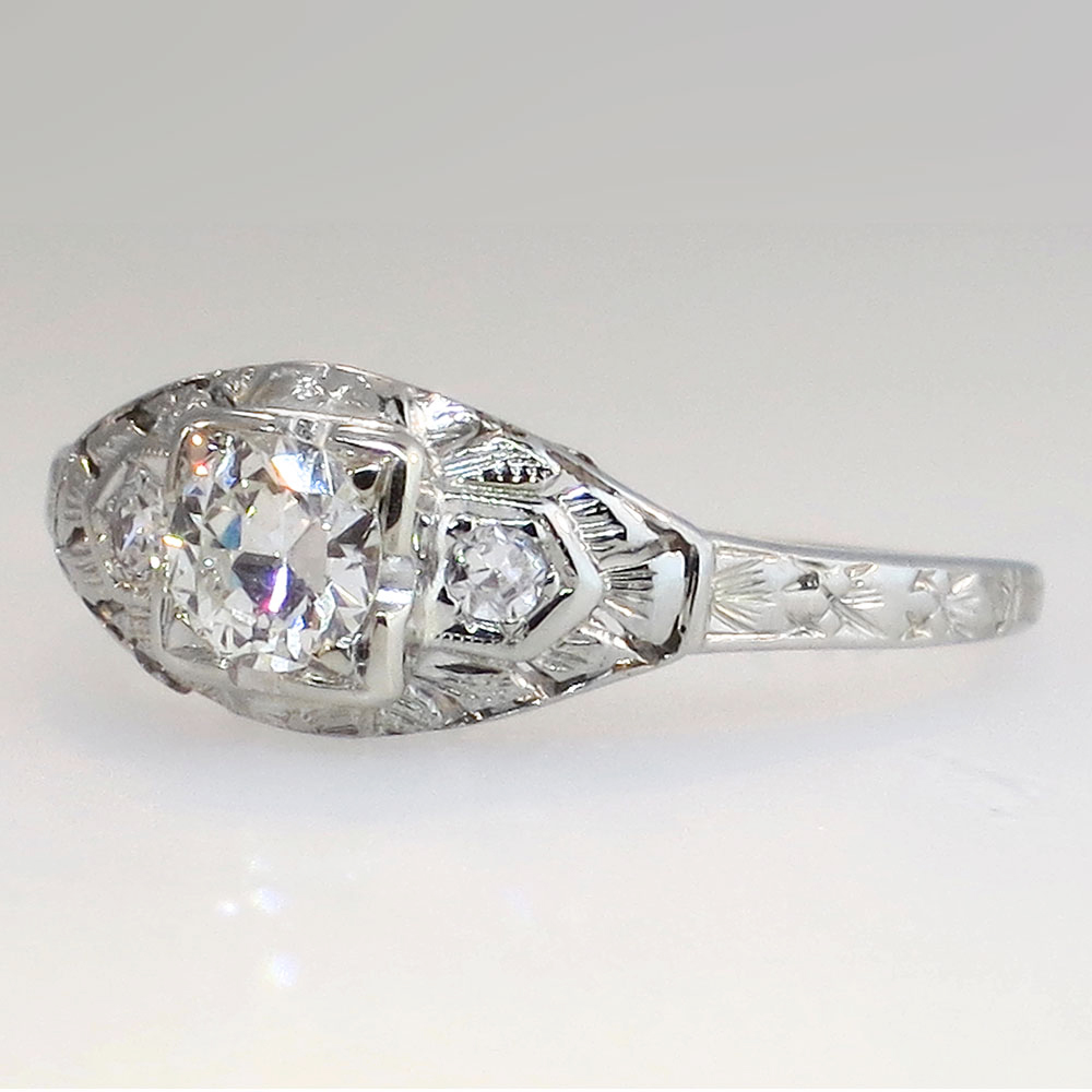 Art Nouveau Old European Cut Diamond Engagement Ring 18k