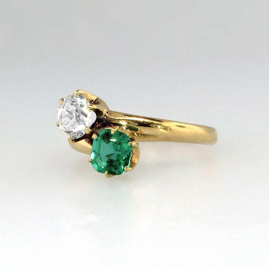 Tiffany Amp Co 1920s Emerald Amp Diamond Bypass Toi Et Moi