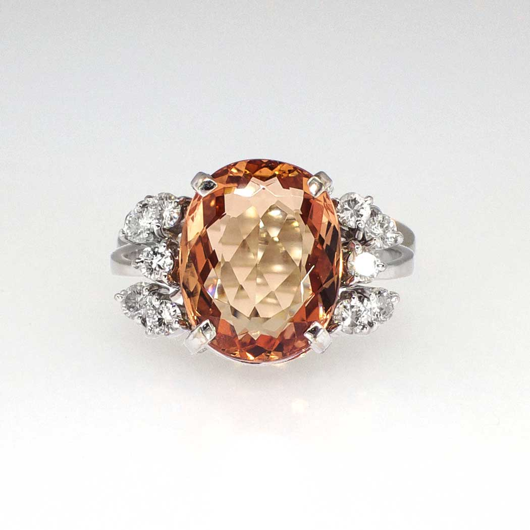 stunning h stern 5ct 1950 39 s imperial topaz diamond ring 18k antique estate jewelry. Black Bedroom Furniture Sets. Home Design Ideas