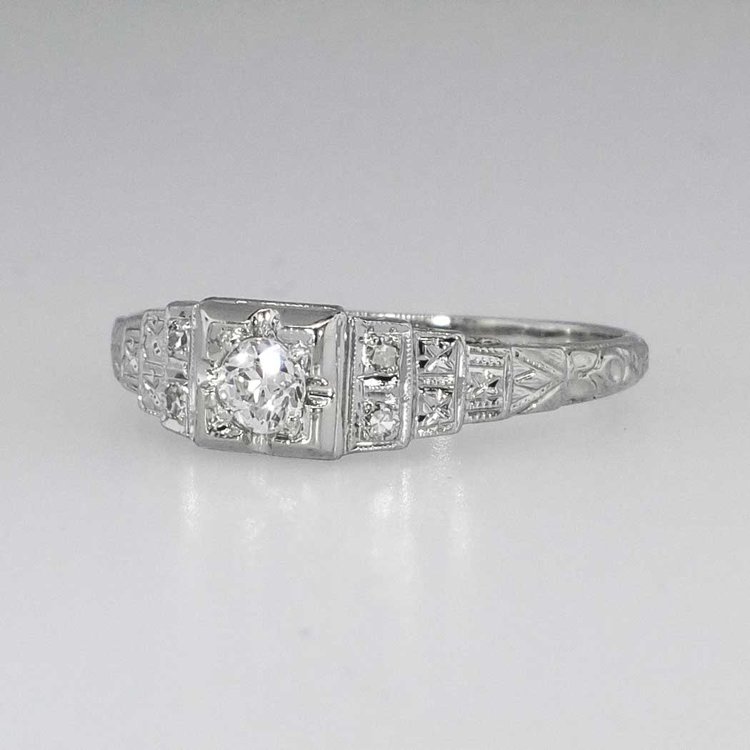 Beautiful Intricate Art Deco Old European Cut Diamond Engagement Ring 18k