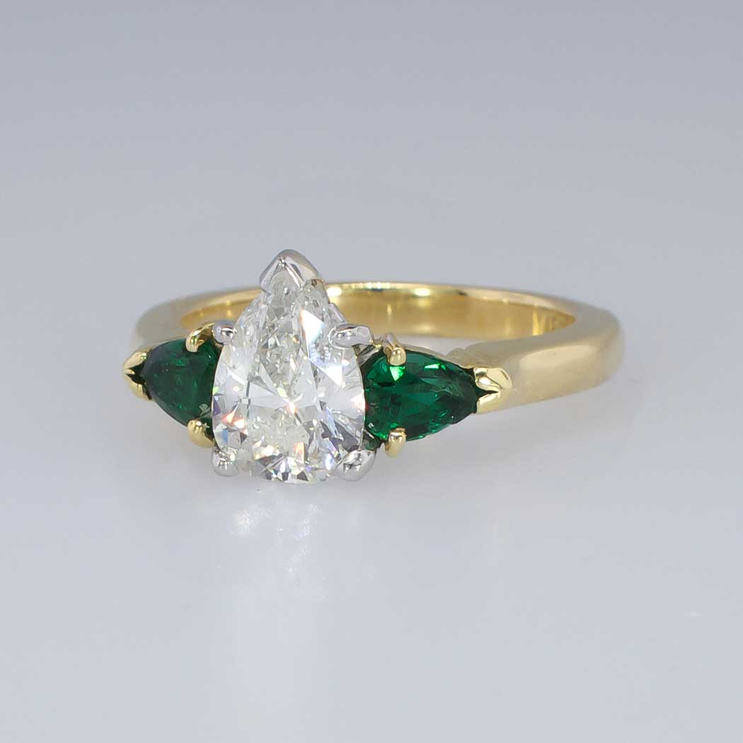 beautiful estate 1 85ctw pear emerald engagement