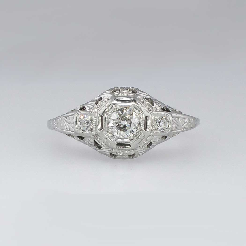 Fantastic Art Deco 31ctw Filigree Old European Cut Diamond Engagement Ring 1