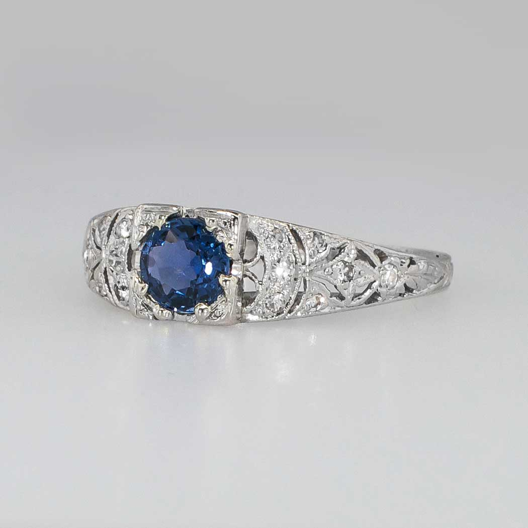 Lovely Art Deco Sapphire Amp Diamond Filigree Engagement