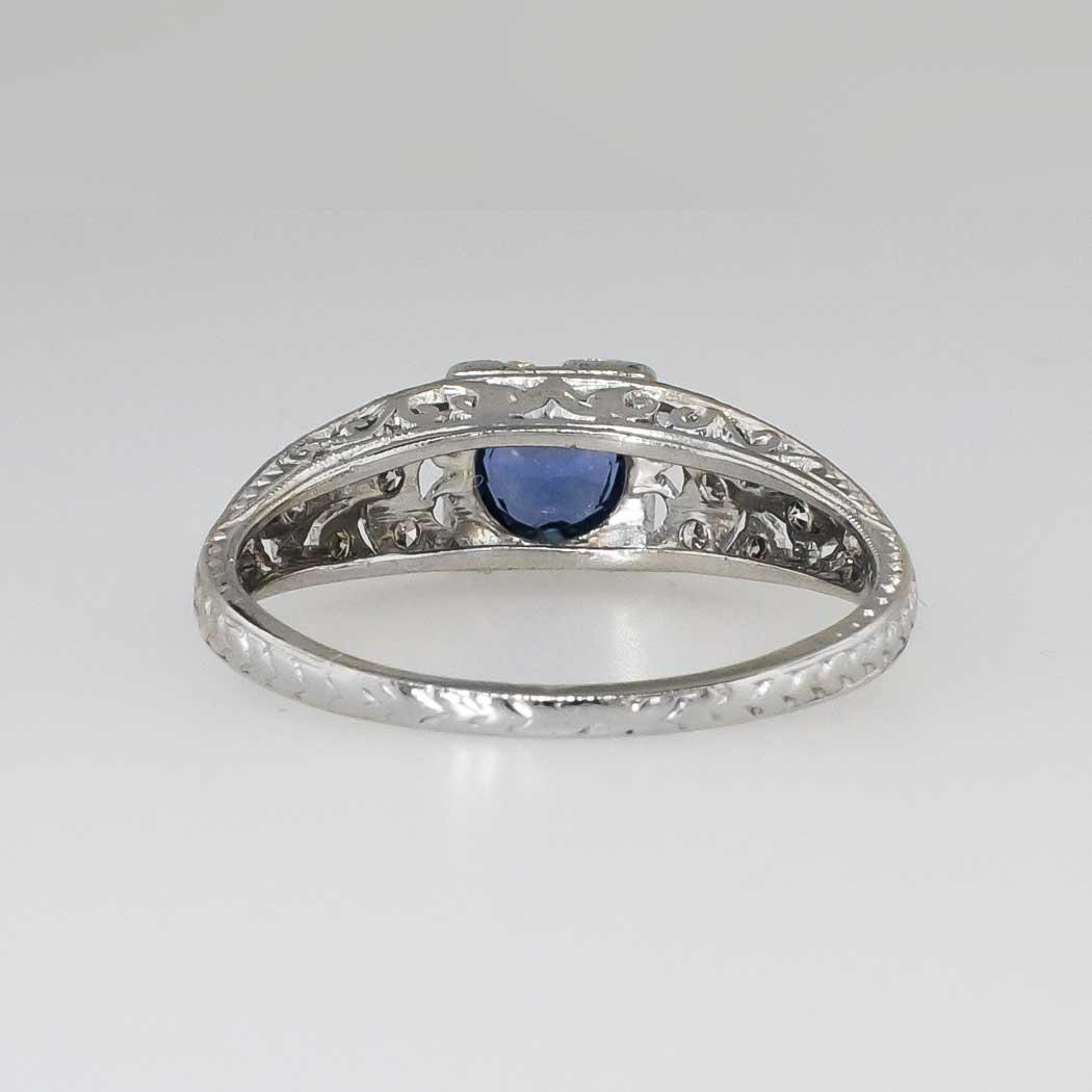 Lovely Art Deco Sapphire Amp Diamond Filigree Engagement