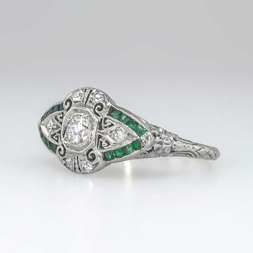 beautiful 1930 s european cut emerald