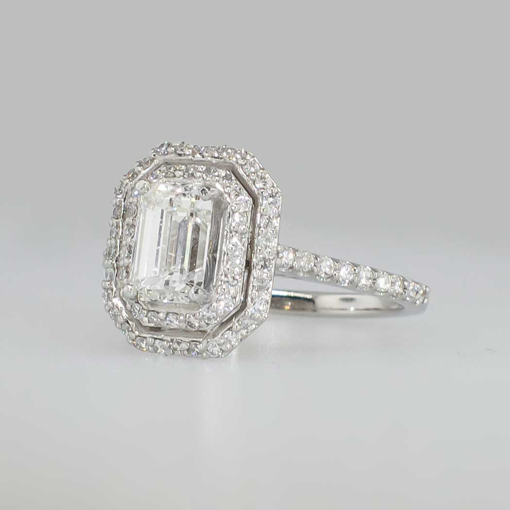 Glorious 1 66ct t w Double Halo Emerald Cut Diamond Engagement Ring Plat