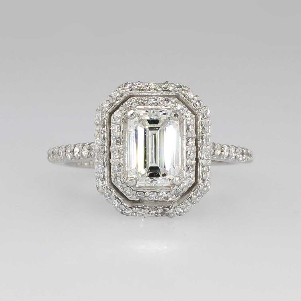 Emerald Cut Halo Diamond Engagement Rings: Glorious 1.66ct T.w. Double Halo Emerald Cut Diamond