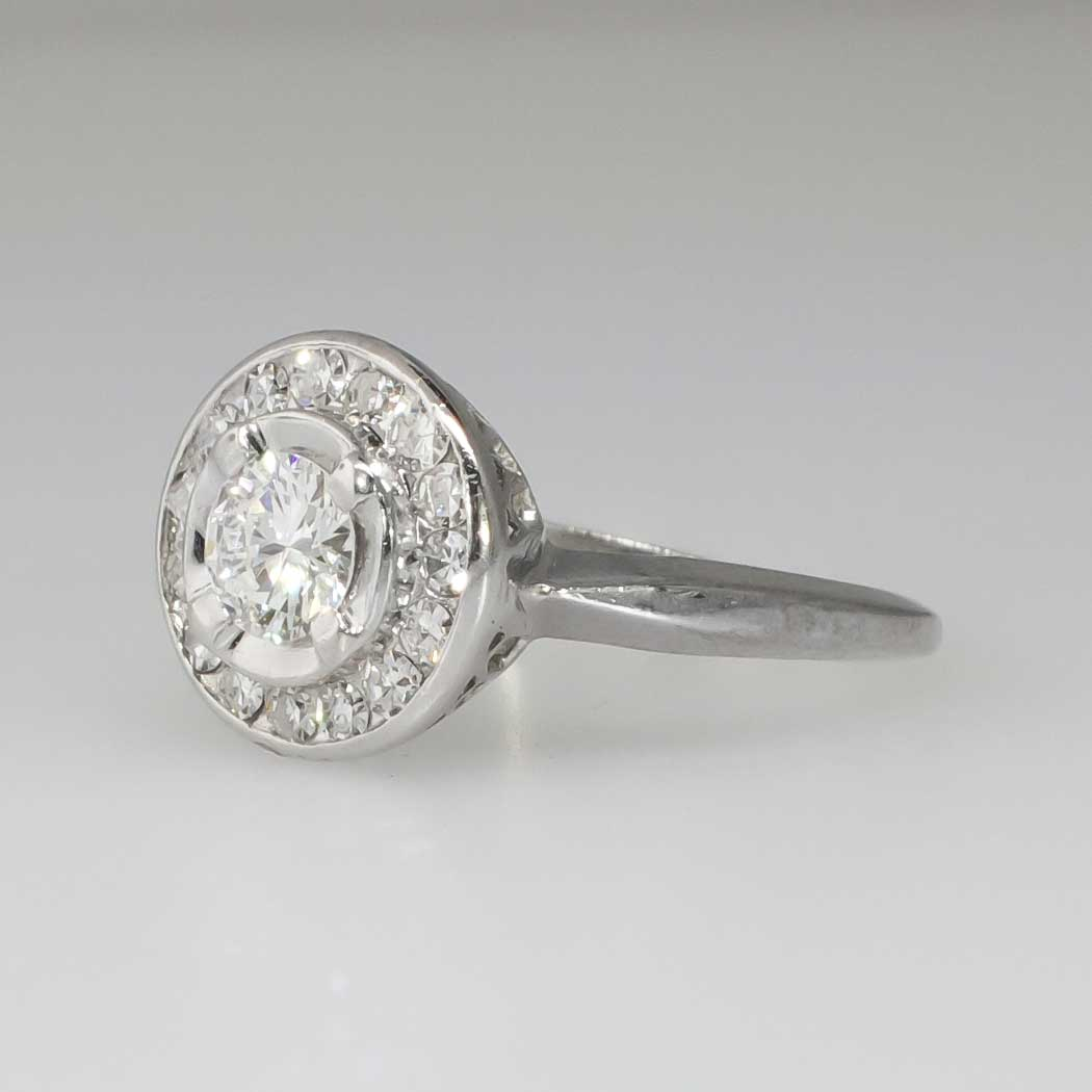 Sparkling 1960 s 70ct t w Diamond Halo Engagement Ring 18k