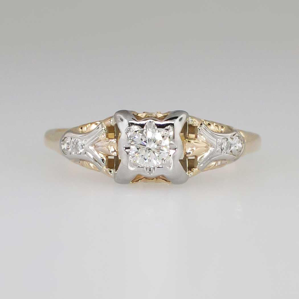 Art Deco Unique Diamond Wedding Ring 14k Two Tone Gold: Understated Elegant Art Deco .22ct T.w. Two Tone Diamond