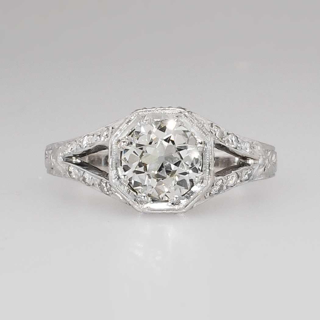 Rare 132ct Tw Old European Cut Diamond Split Shank Engagement Ring Plat