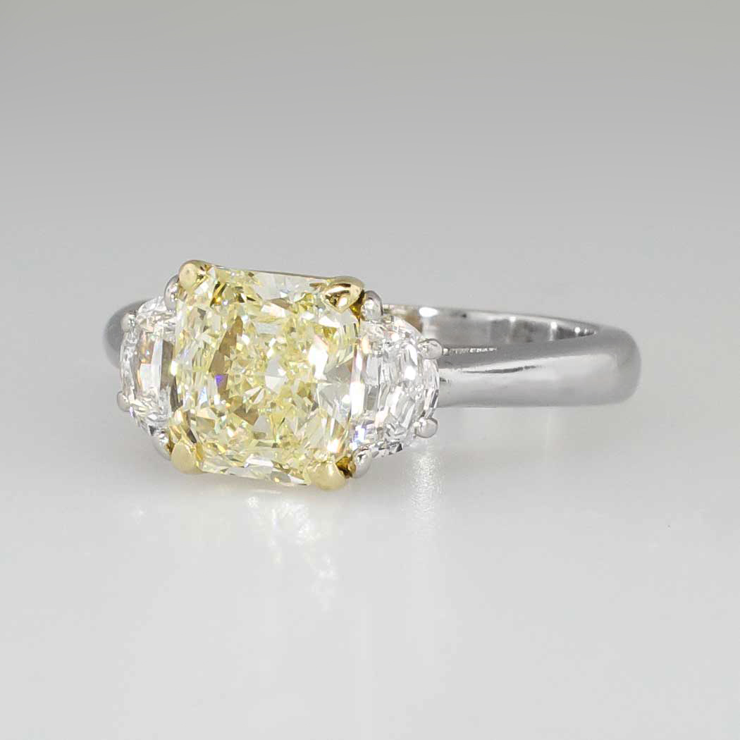 Estate 2 63ct t w Canary Fancy Light Yellow Diamond Engagement Ring 18k Plat