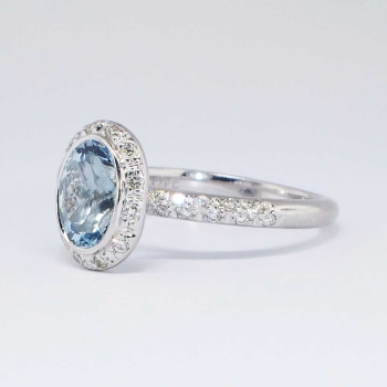 ... Perfect 2.25ct t.w. Estate Bailey Banks & Biddle Aquamarine Diamond Ring 18k ...