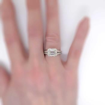 Heavenly Estate Ritani 2 25ct T W Emerald Cut Diamond Pave Halo Engagement Ring