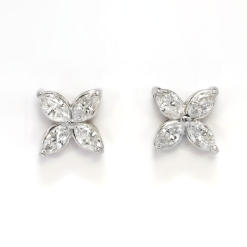 Beautiful 1 03ct T W Marquise Diamond Victoria Style Earrings Studs 18k 14k